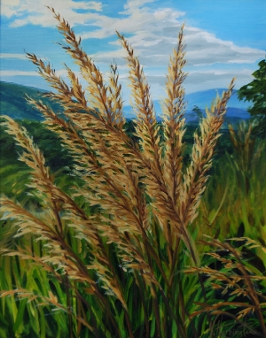 """Indian Grass with Mountains Behind"" Oil on linen panel 20"" x 16"""