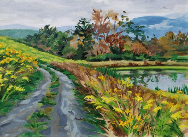 """Goldenrod and Wingstem Beside Necklace Ponds"" Oil on canvas 12"" x 16"""