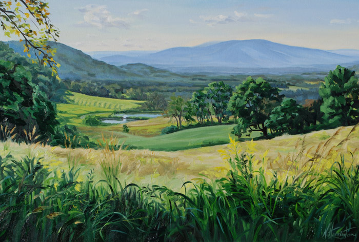 """View From the Top of Henry's Meadow. Late Summer"" Oil on canvas 20"" x 30"""