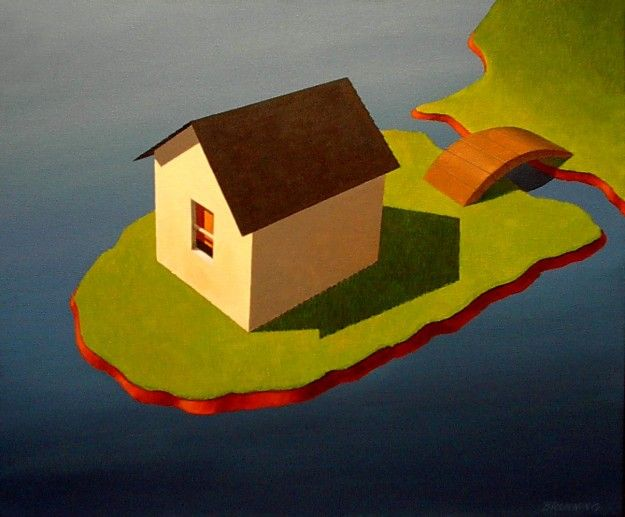 """""""Island House"""" Acrylic on Canvas 20"""" x 24"""""""