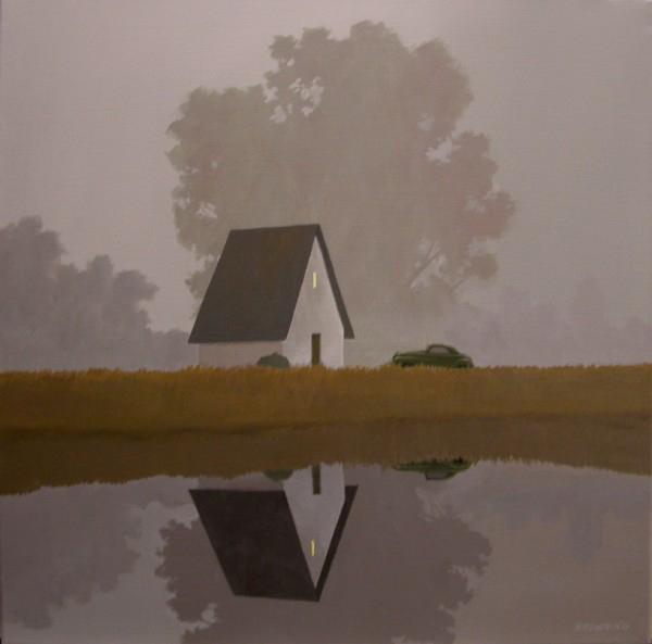 """""""Fog and Car"""" Oil on Canvas 24"""" x 24"""""""