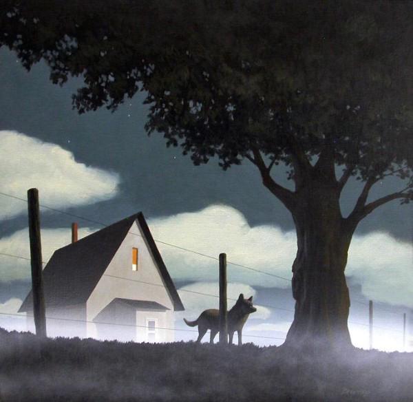 """""""Fog and Dog"""" Acrylic on Canvas 24"""" x 24"""""""