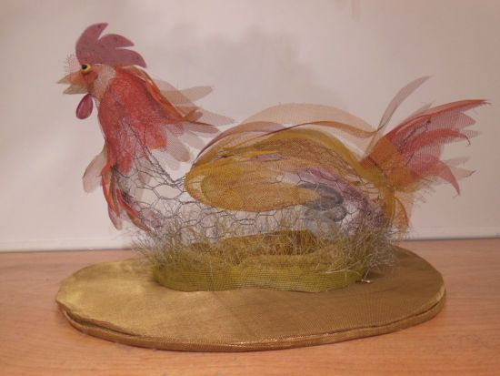 """Nesting Chicken Painted screen, chicken wire  and wire"