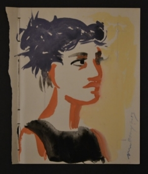 """Girl With Blue Hair"" Gouache on found paper"