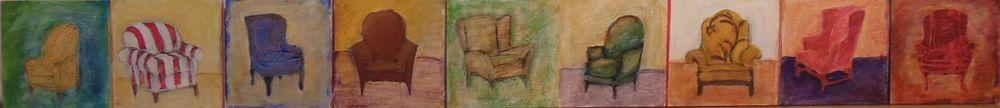 """9 Chairs"" Acrylic on panel, 6"" x 54"""