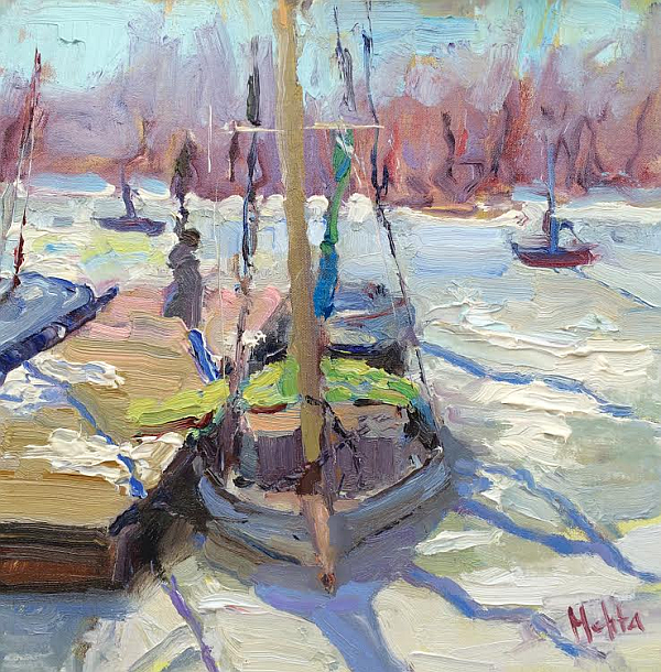 Snow-Boat-oil-painting