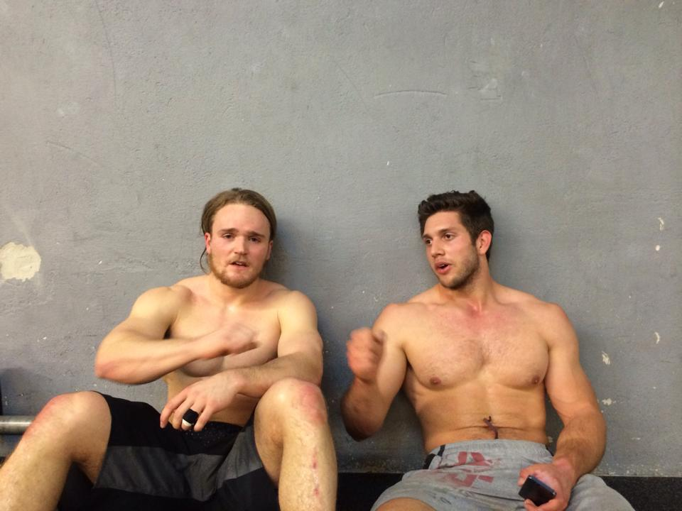 Too much hotness in one picture. Calm your ovaries ladies! Jonas Müller and Lukas after Open WOD 14.1