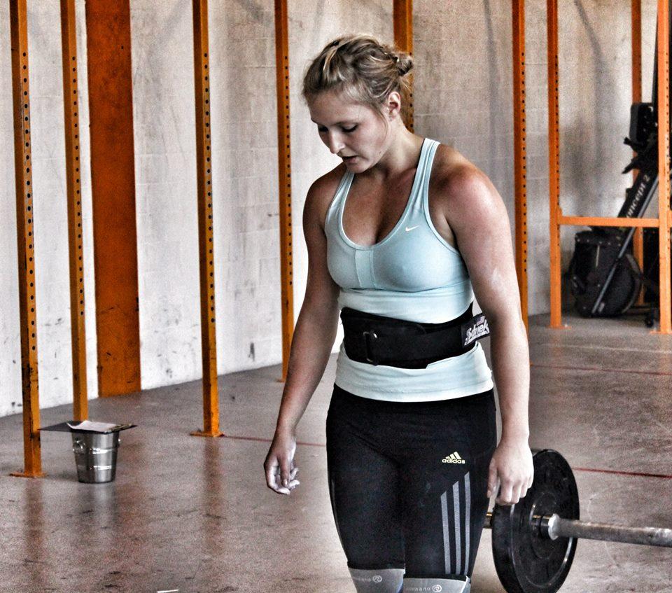 Sarah staring down the Axle bar at the ARE YOU TOUGH ENOUGH CHALLENGE in Basel