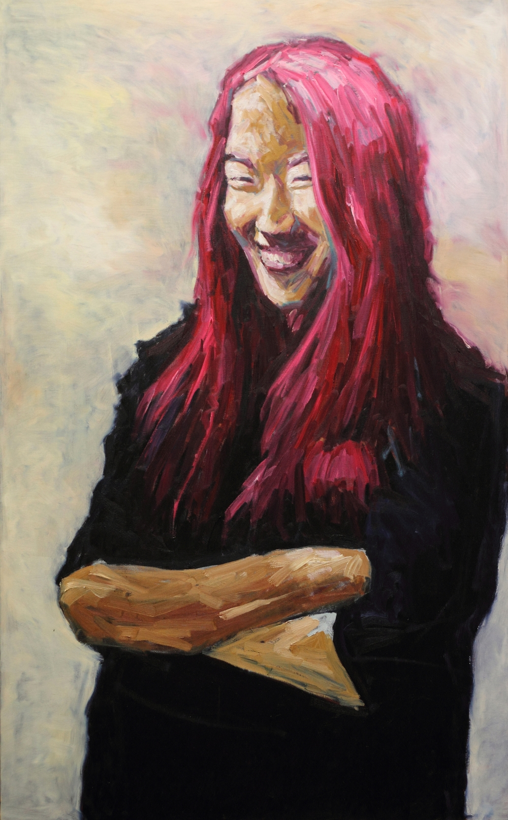 "Teacher, ""Hong, Ji-min""   130 cm x 80 cm oil on canvas 2013   강사  홍 지 민"