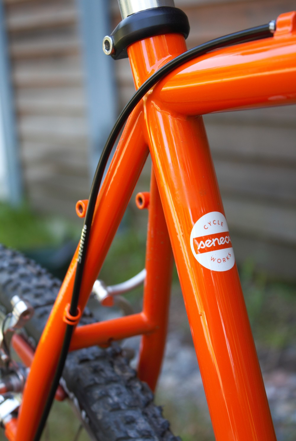 Seat tube logo, standard on all frames.