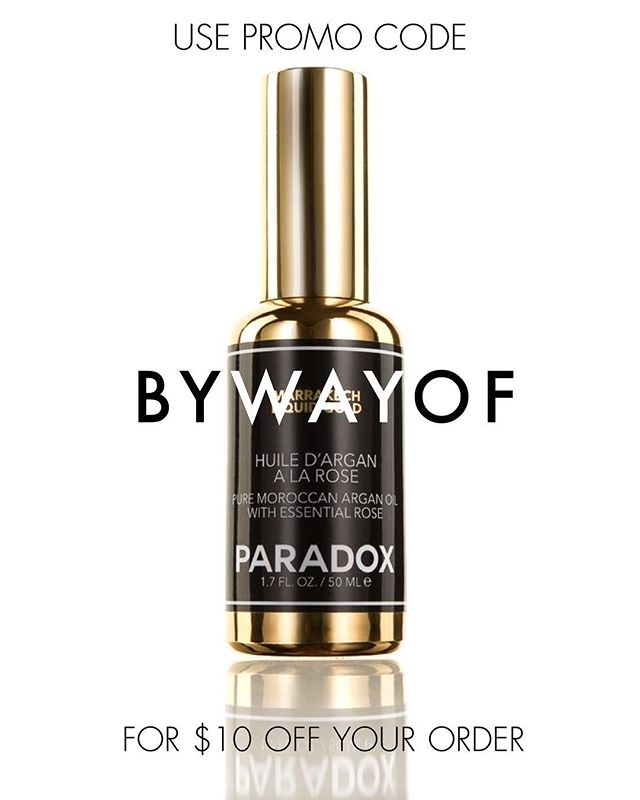Meet Marrakech Liquid Gold. ⚡️ Use promo code BYWAYOF at checkout to get $10 off and perfect summer skin. #paradox . . . . . A multitasking beauty oil that's formulated to moisturize, restore, and replenish skin and hair - naturally. Marrakech Liquid Gold is packed with Vitamin E and Omega 3-fatty acids and strategically formulated with the highest quality, ethically sourced ingredients available.We love Marrakech Liquid Gold on the skin to create a nourished, dewy, youthful-looking complexion. However, it can be from head to toe and may also be used to treat split ends and soften cuticles.