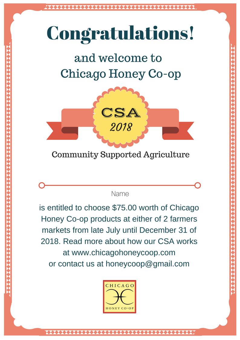 Csa Share For 2018 Chicago Honey Co Op