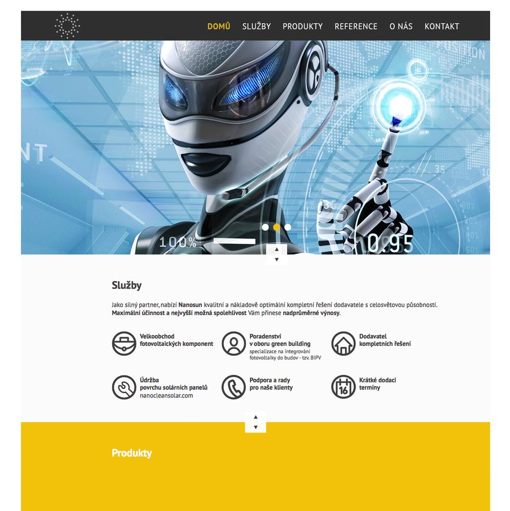Náhled webu nanosun - home page