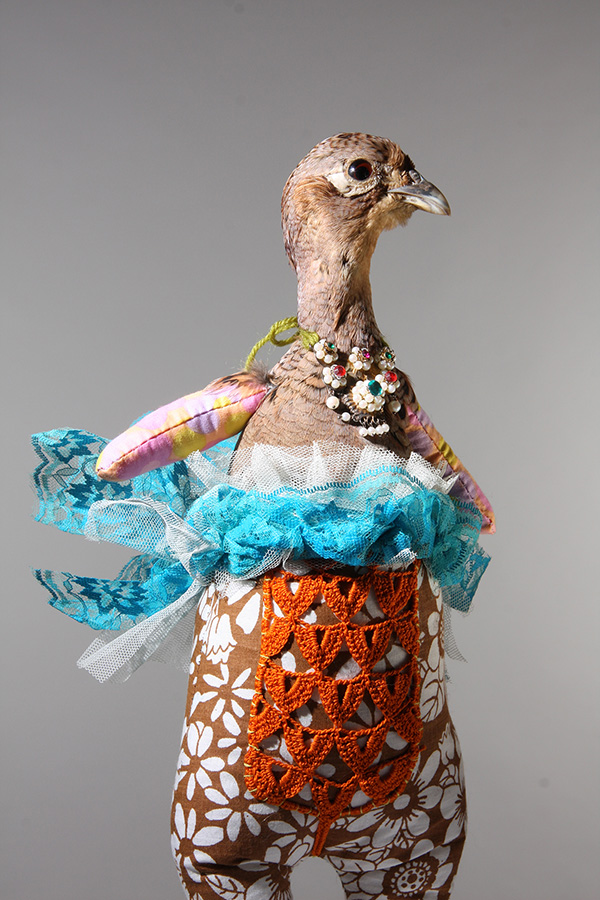 Untitled 2, 30cm height, taxidermy pheasant head, vintage cotton, nylon, lace and adapted vintage necklace, 2014
