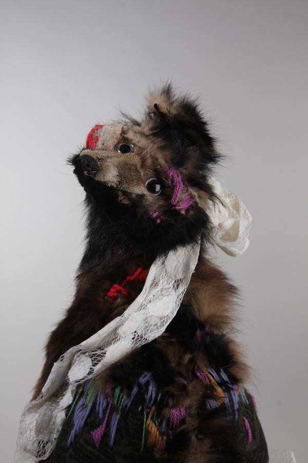 Untitled 19 , 32cm height, vintage fox stole, vintage cotton, embroidery wool, cotton net, 2014