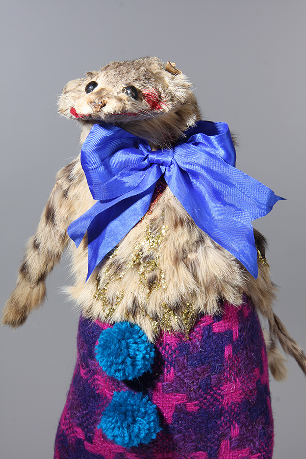Untitled 8,  25cm height, vintage wildcat pelt, vintage woolen textile, silk ribbon, vintage glitter, wool 2014