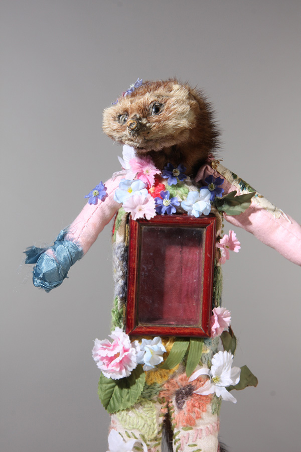 Untitled 7, 30cm height, vintage stoat stole, vintage cotton, embroidery wool, artificial flowers, silk, found trinket box, 2014.