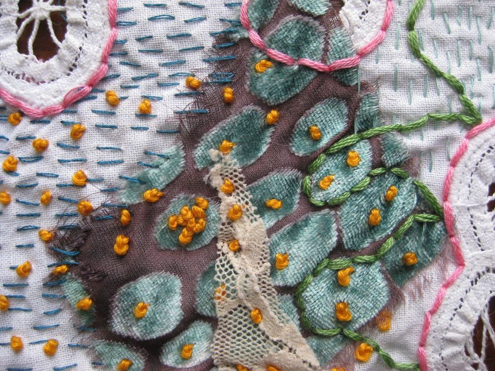 "Second Life 8 , detail, Reclaimed fabric, embroidery floss, thread, heirloom clothing. 2012. 8.5""   x 7.5"". Courtesy of the artist."