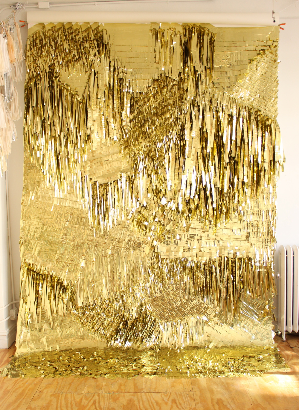 Gold Wall, 2010 CONFETTISYSTEM, Metallic foil, canvas Photo: CONFETTISYSTEM