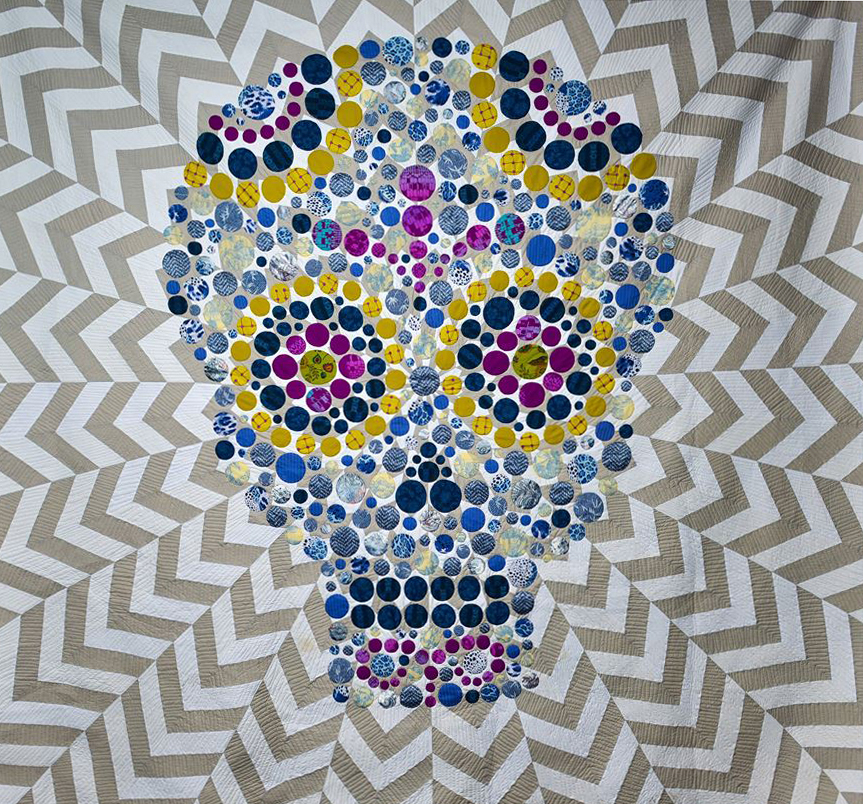 "Calavera, quilt, 100""x100"", 2014 Courtesy of the artist"