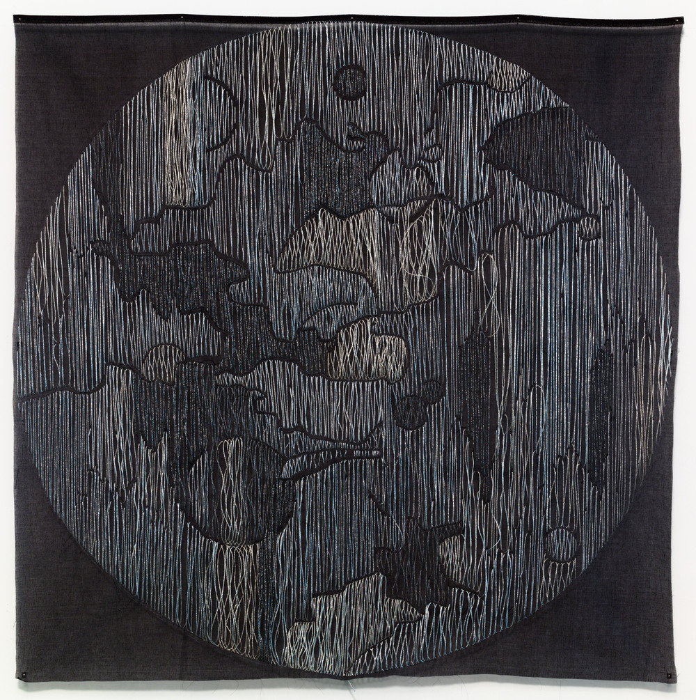 Jessica Rankin, Termagant (La fille de Theia, 2014, Embroidery on organdy, 42 x 42 inches. Courtesy of the artist.