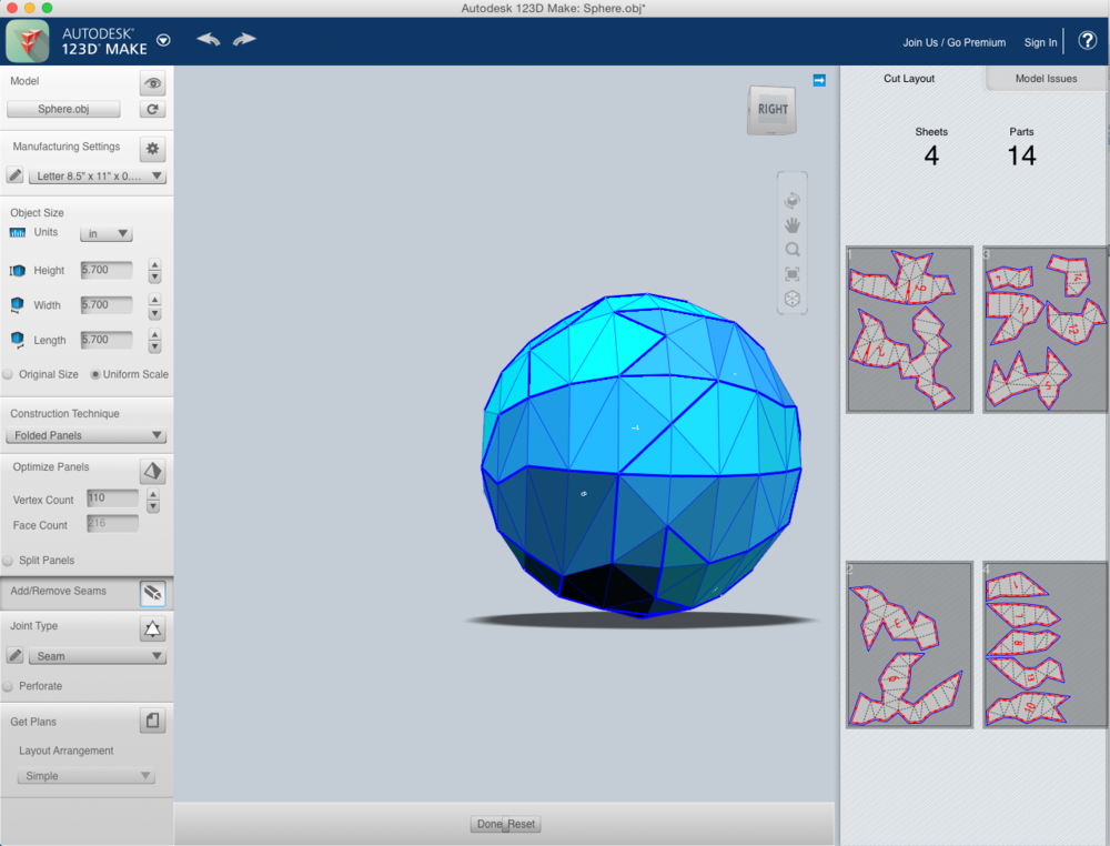 Example of a simple sphere imported into Autodesk's 123D Make program to create a flat pattern that can be cut out of sheet metal on a CNC router or printed on a laser out of matt board or felt, or on a regular at home printer.