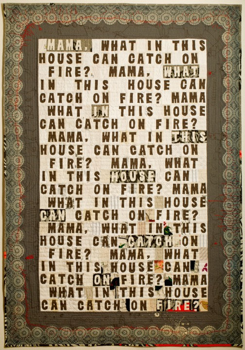 """Spontaneous Combustion"" (54"" x 77"") Wool, cotton, vintage domestic linens. Machine pieced, hand embroidered & appliquéd, hand quilted, 2013. *Juror's Choice Award, ""Earth, Fire & Fibre XXIX"" biennial exhibition, Anchorage Museum at Rasmuson Center. *Permanent Collection, Anchorage Museum at Rasmuson Center, Alaska.    Image courtesy of the artist."