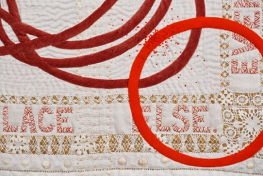 "Detail. ""Girl Story #3"" (26"" x 26"" Vintage domestic linens, cotton velvet, wool, found objects. Machine pieced, hand embroidered, hand quilted, 2015.Image courtesy of the artist."