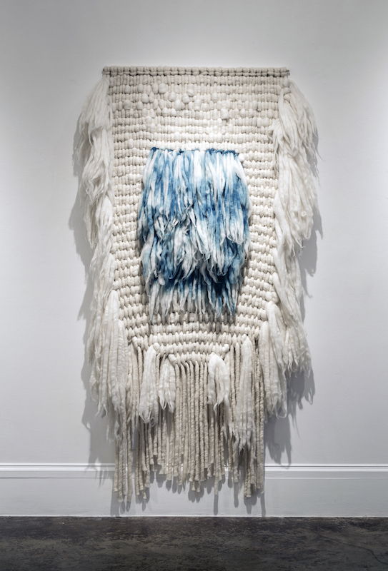 "Indigo Square, merino, indigo, 76"" x 44"", 2014, photo credit: Maria Minnelli"
