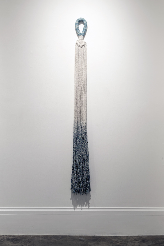 "Cotton Tassel, cotton, indigo, 72"" x 5"", 2014, photo credit: Maria Minnelli"