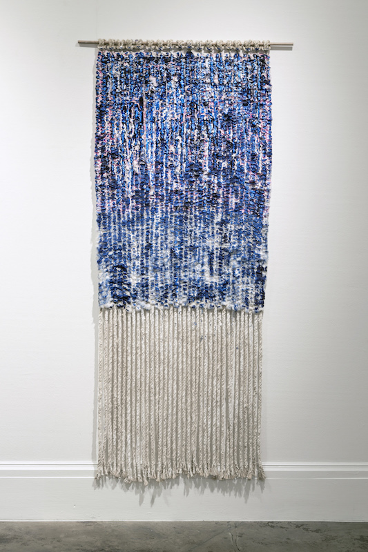 "Painted Weaving, cotton, jute, plaster, acrylic, wood, 72"" x 36"", 2014, photo credit: Maria Minnelli"
