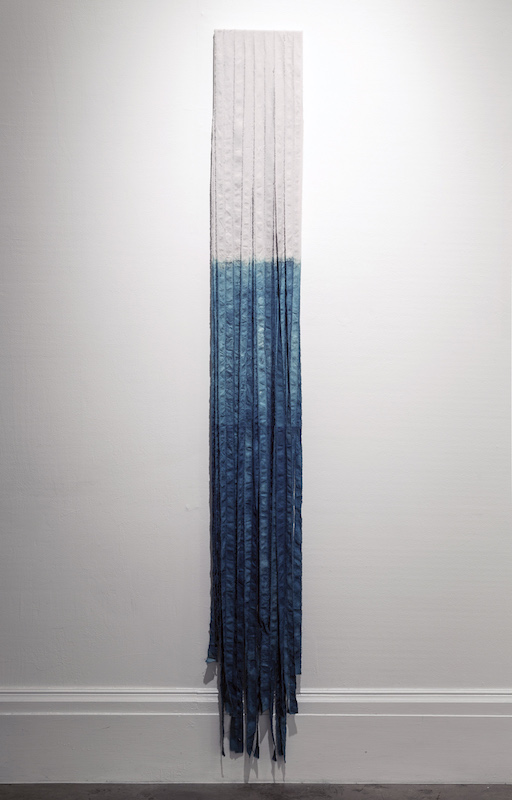 "5.	Cotton Fringe, cotton, indigo, 72"" x 12"", 2013, photo credit: Maria Minnelli"