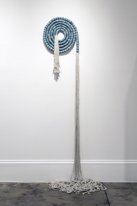"Large Indigo Coil, cotton, indigo, 150"" x 18"", dimensions variable, 2014, photo credit: Maria Minnelli"