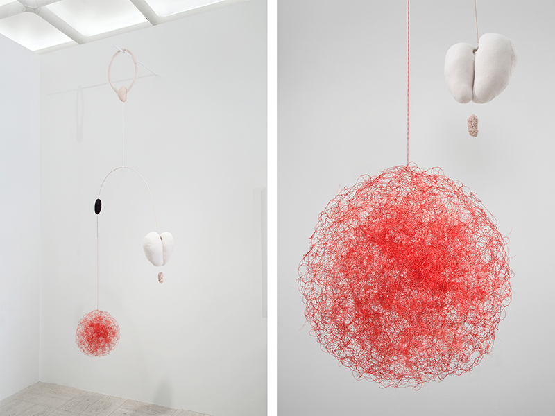 "Inside&Out, 2014 Installation (w:54"", h:1100""), Fabric, Yarn, Human hair, Craft wire, Drawer liner"