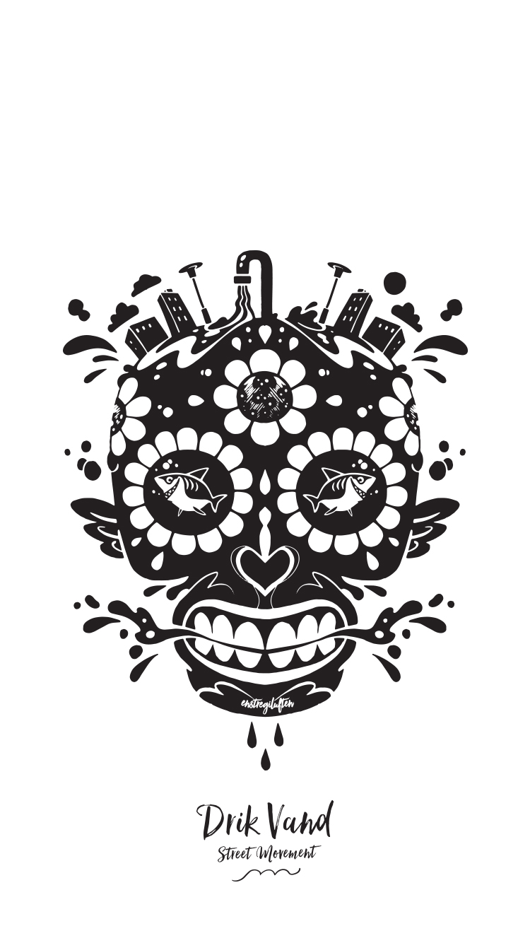 Water Skull Screensaver!  Show your support - get your smartphone screensaver here:   White 750x1334px   Black 750x1334px   Blue 750x1334px   The Water Skull Illustration is created by local artis and friend,   David Ebbesen aka   Enstregiluften  .
