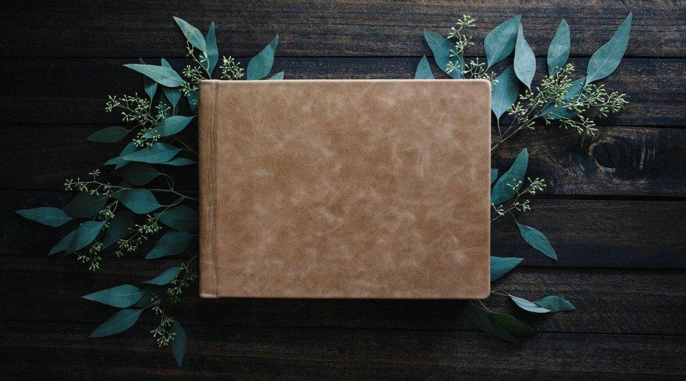 9 x 12 - Irish Cream Distressed Leather | Florals Courtesy:  Bloomingdale Florist