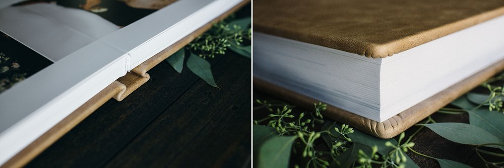 Left: Lay-flat detail.Right: Page thickness &side detail.