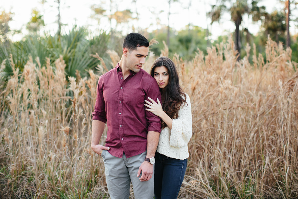 couple in field engagement session