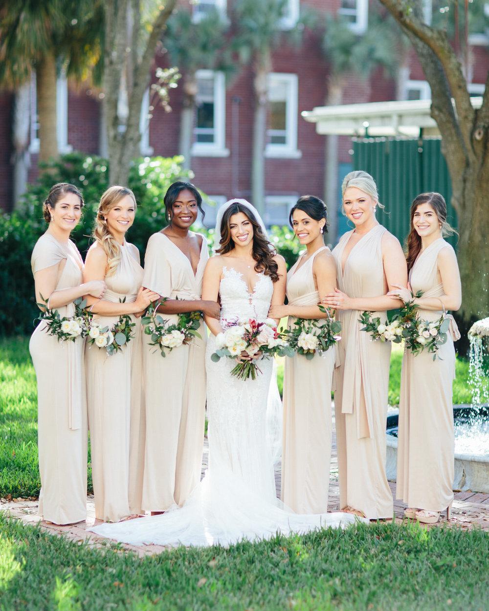 Outdoor bride with bridesmaids photos