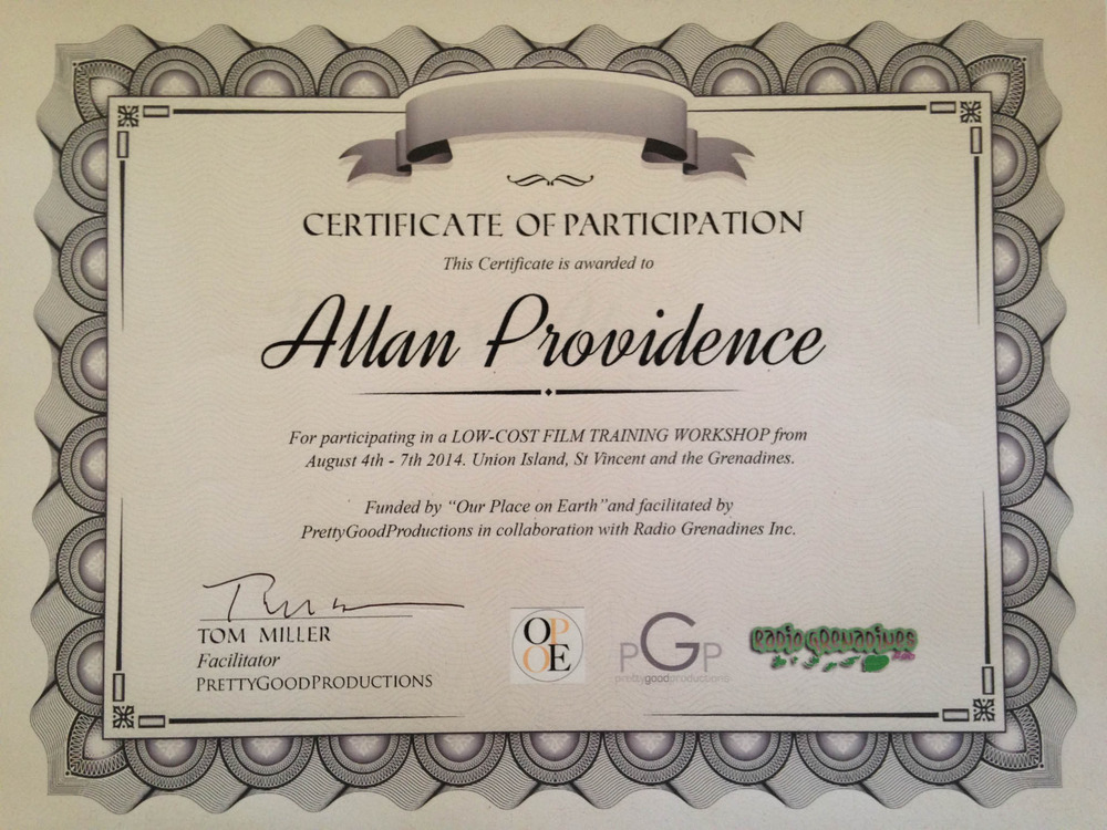 Allan's Certificate - Thanks to Stanton for Providing