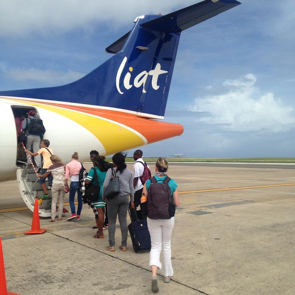 Leaving Grenada. Nuin-Tara boarding the plane for Antigua - Photo, Tom Miller