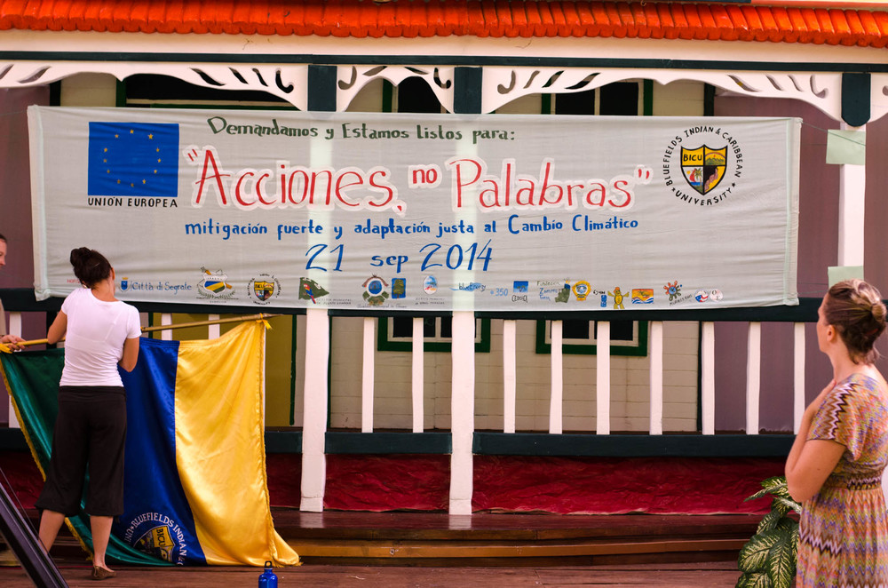 "Banner at Bluefields Indian and Caribbean University, ""Acciones, no Palabras"" - ""Actions, not Words"" - Still, Tom Miller"