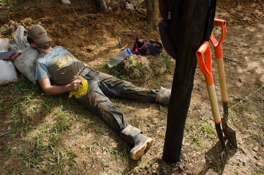 Dan after digging post holes, 4PM - photo, Tom Miller