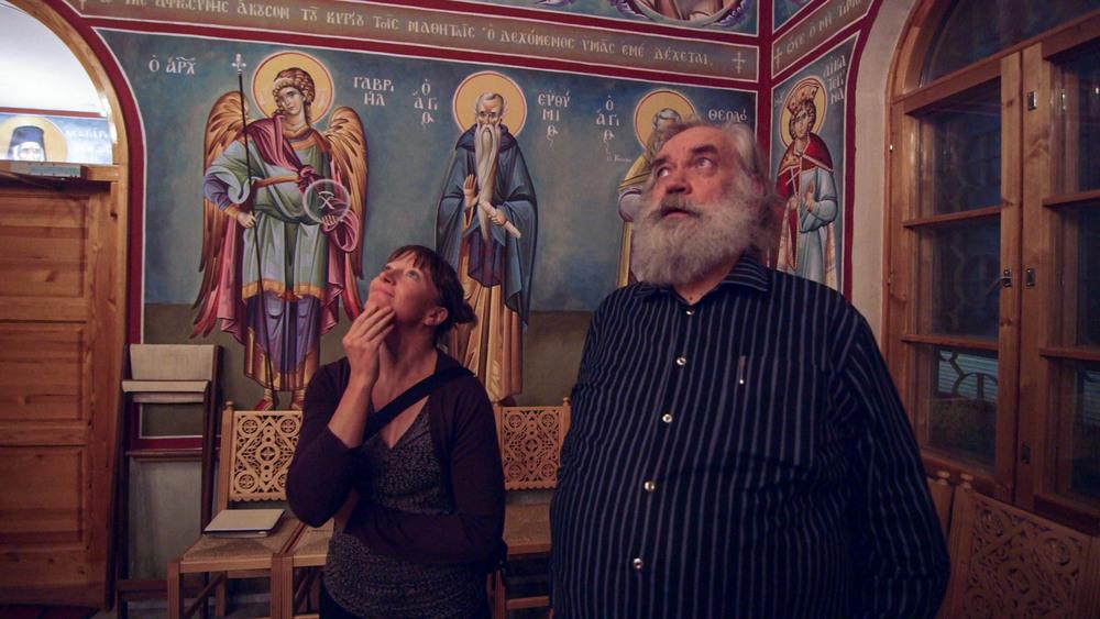 Nuin-Tara and Antero at a Greek Orthodox church he designed, Joensuu, Finland - video still, Tom Miller