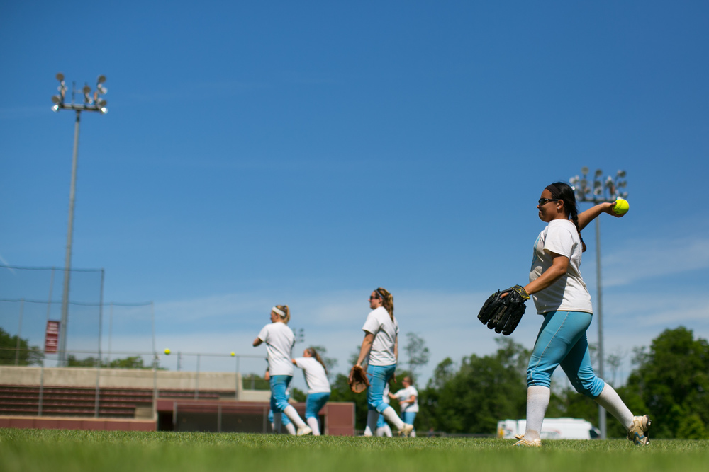 Salem, VA - Tufts utility player Stephanie Tercero, A15, warms up her arm during practice at the James I Moyer Sports Complex in Salem, Virginia on Wednesday, May 20, 2015. The team will take on Alma on Thursday in their first matchup of the NCAA Division III Softball College World Series.