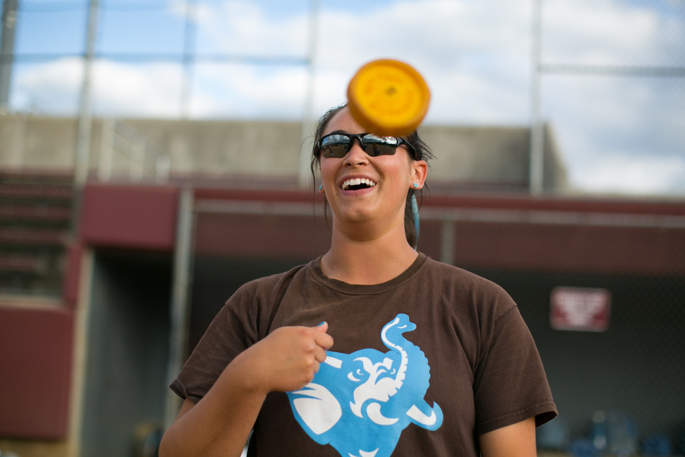 Salem, VA - Tufts outfielder Michelle Cooprider, A15, uses a spinner disc during warm ups prior to the game against Alma in the NCAA Division III Softball World Series at the Moyer Sports Complex on Thursday, May 21, 2015.