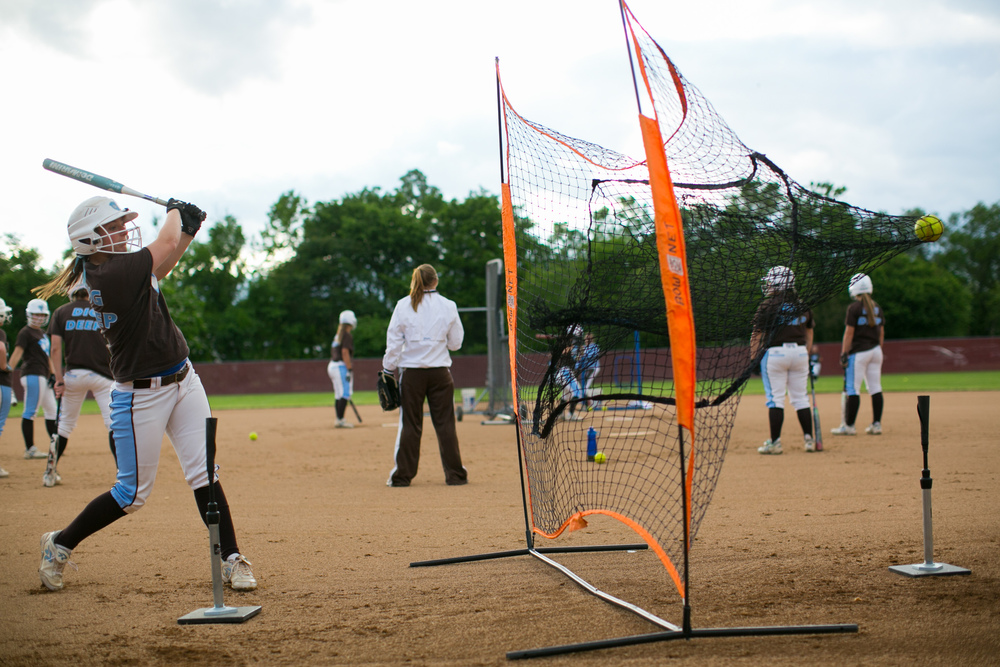 Salem, VA - Tufts second baseman Abby Curran, A16, works on her swing during warm ups prior to the game against Alma in the NCAA Division III Softball World Series at the Moyer Sports Complex on Thursday, May 21, 2015.