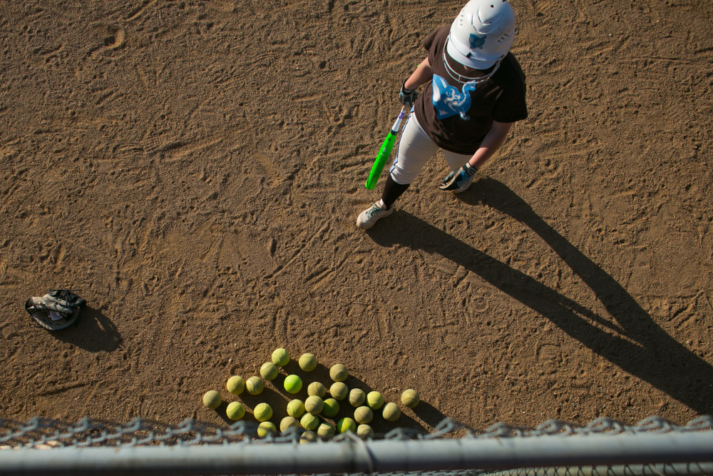 Salem, VA - The Tufts University softball team warm up before their game against Salisbury in the NCAA Division III Softball Championship at the James I Moyer Sports Complex in Salem, Virginia on Wednesday, May 20, 2015.