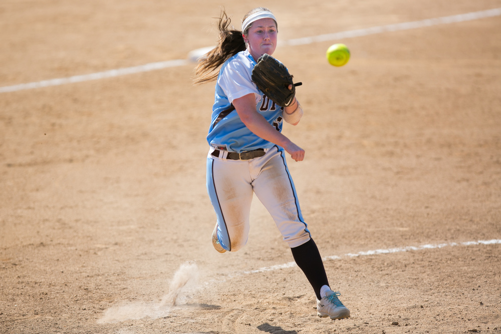 Salem, VA - Tufts third baseman Bri Keenan, A15, makes the throw to first on a ground out by Linfield in the sixth inning of the NCAA Division III Softball Championship at the James I Moyer Sports Complex in Salem, Virginia on Saturday, May 24, 2015. Tufts defeated Linfield 1-0 and will go on to the final against University of Texas at Tyler.