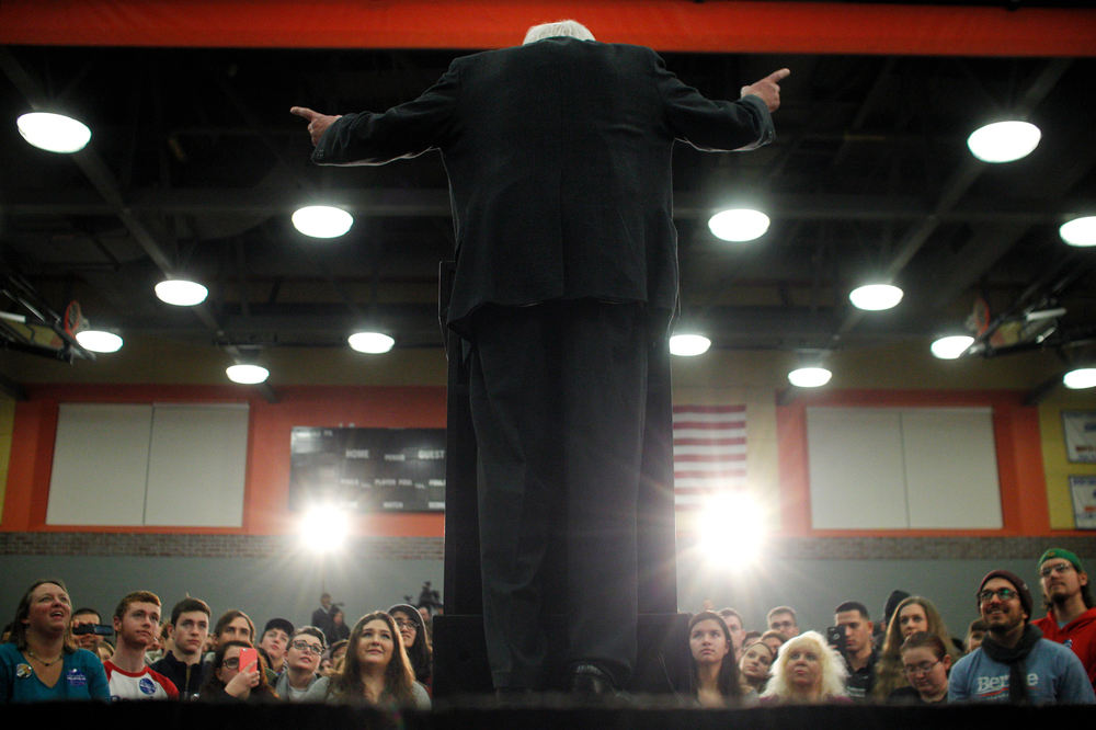 Democratic candidate for president Bernie Sanders speaks to the crowd gathered for a campaign rally at North High School in Worcester, Massachusetts on January 2, 2016.